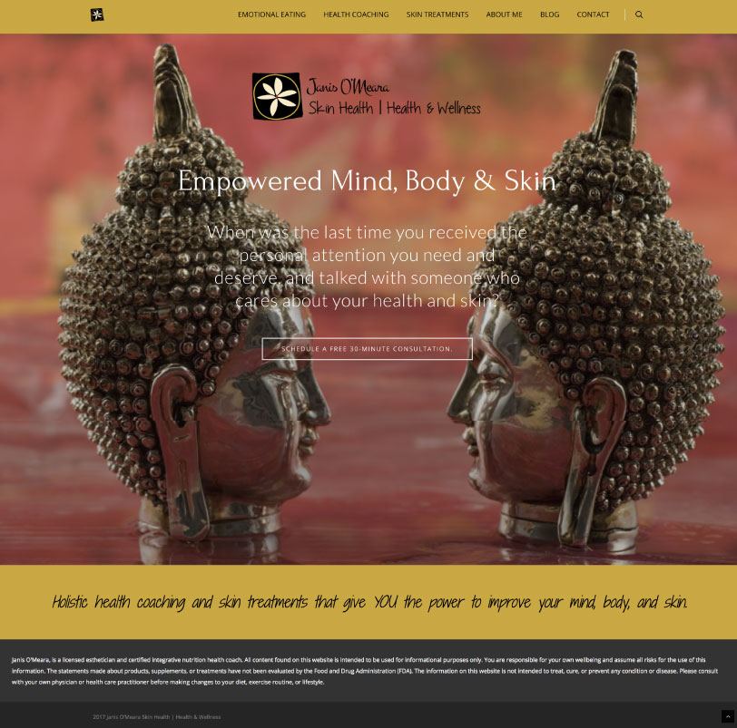 Empowered Mind, Body & Skin Home Page Mockup